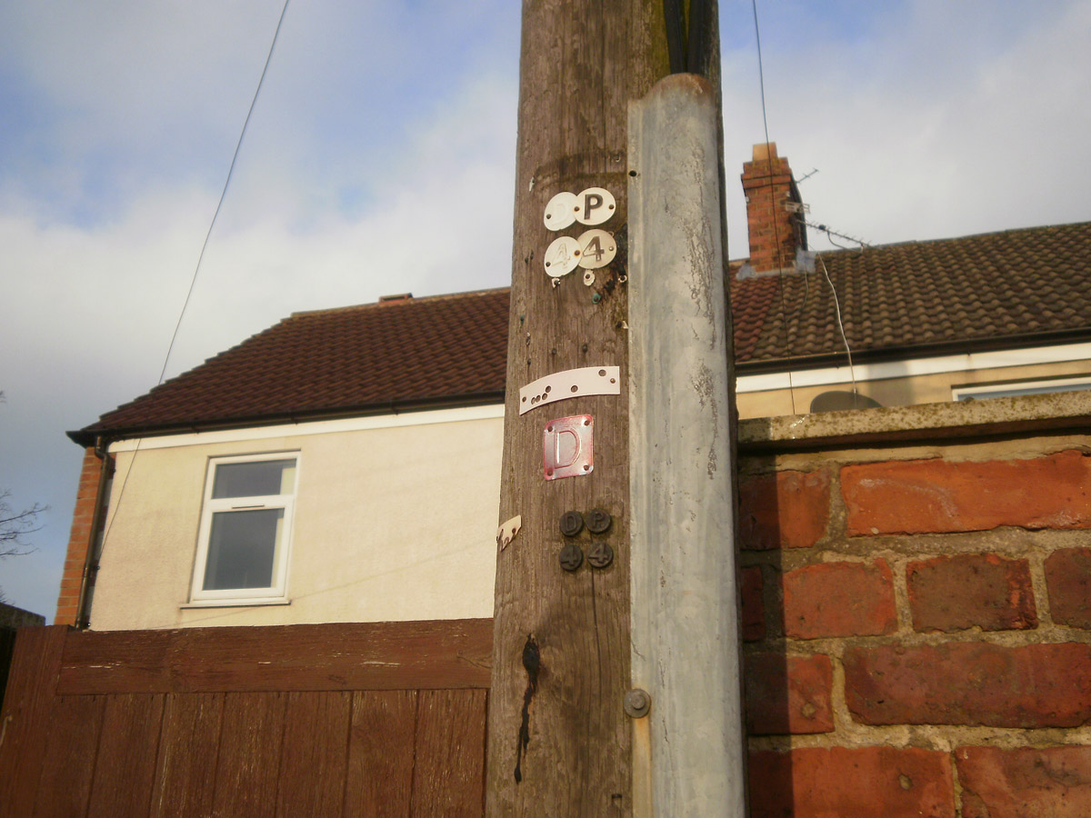 An old distribution pole in Shildon, Co. Durham.