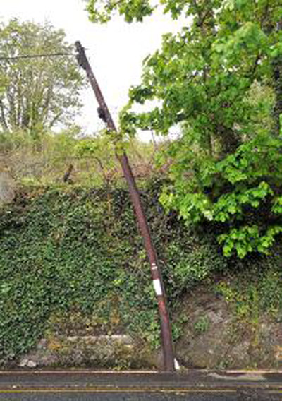 A bent telegraph pole in Plymouth