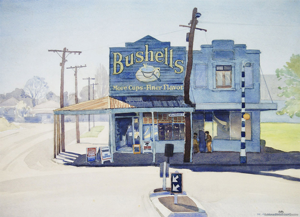 A print of an old new zealand corner store from a painting by Bill MacCormick