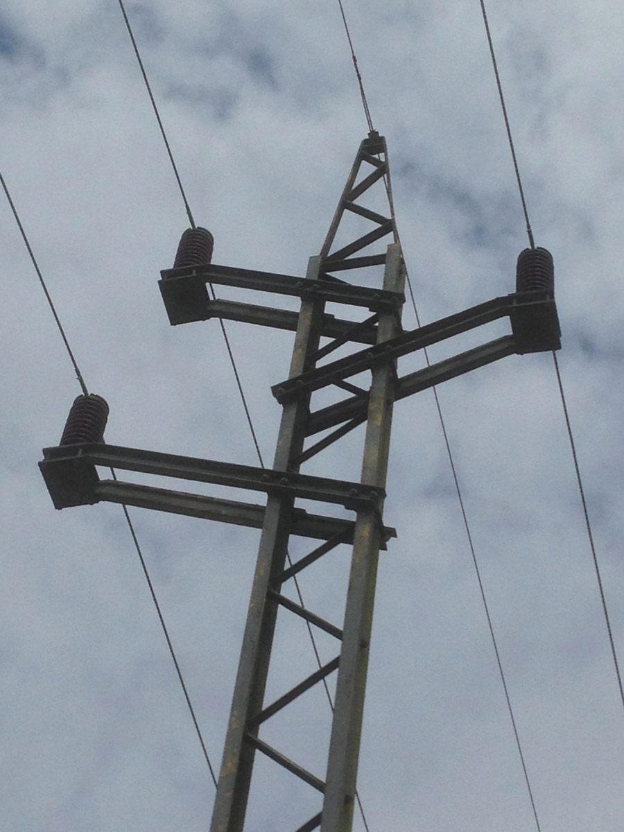 Close up of the top of a small pylon in Sussex