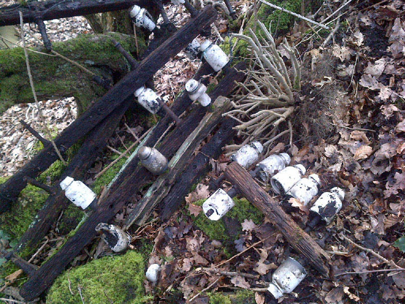 A pile of dead telegraph poles from the undergrowth in Delph