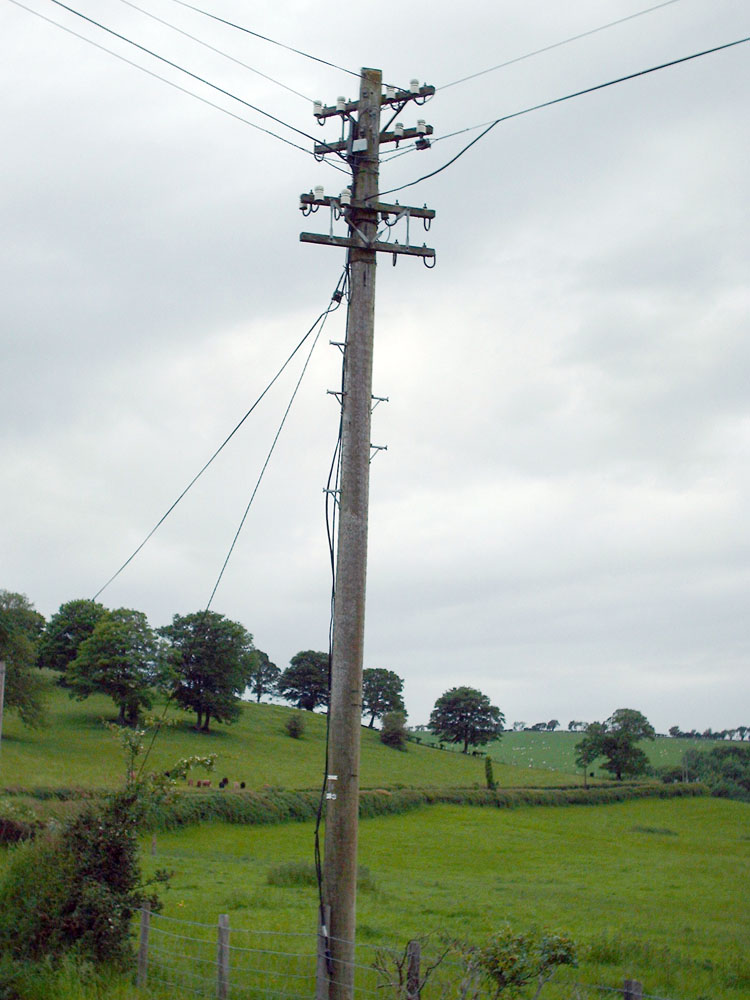 Pole with right-angled crossarms on the A543 near Bylchau, Denbighshire