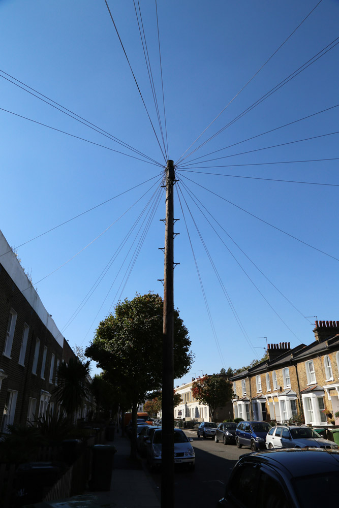 A telegraph pole in New Cross Gate, London