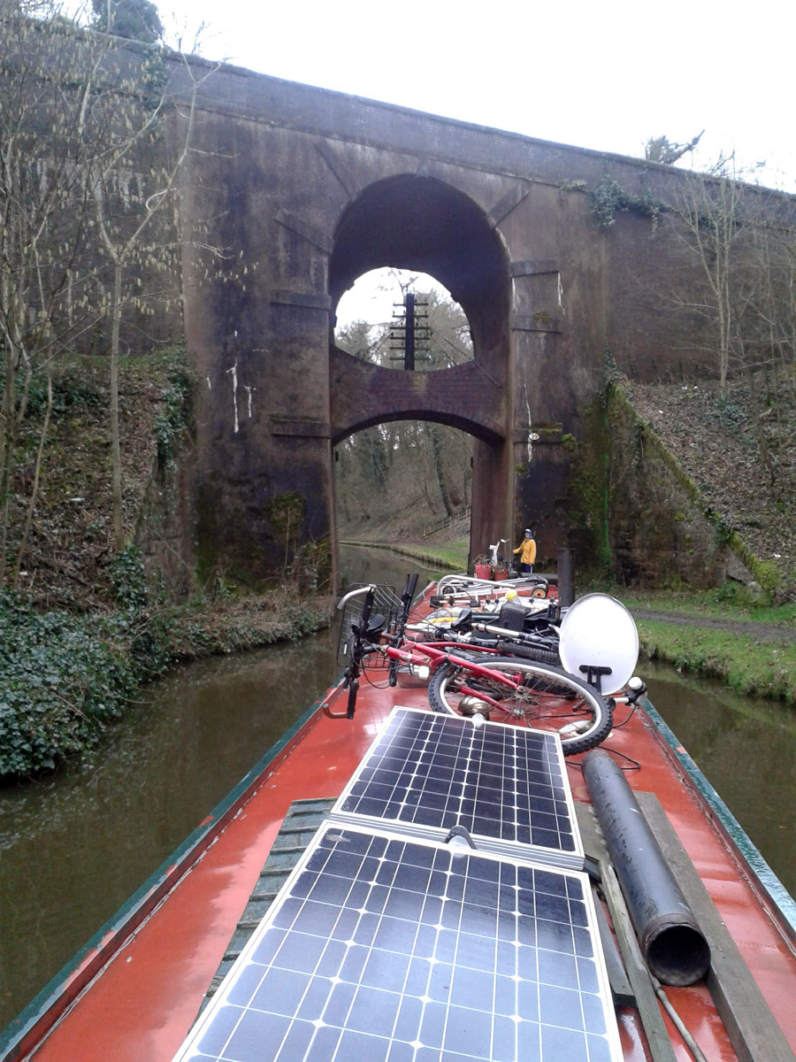 Bridge 39 over the Shropshire Union Canal has a telegraph pole incorporated between arches.