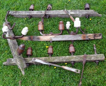 A collection of broken telegraph pole bits