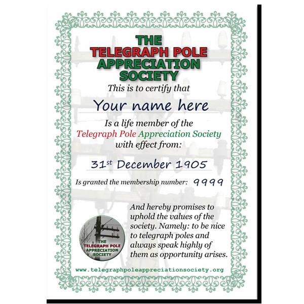 Life Membership The Telegraph Pole Appreciation Society