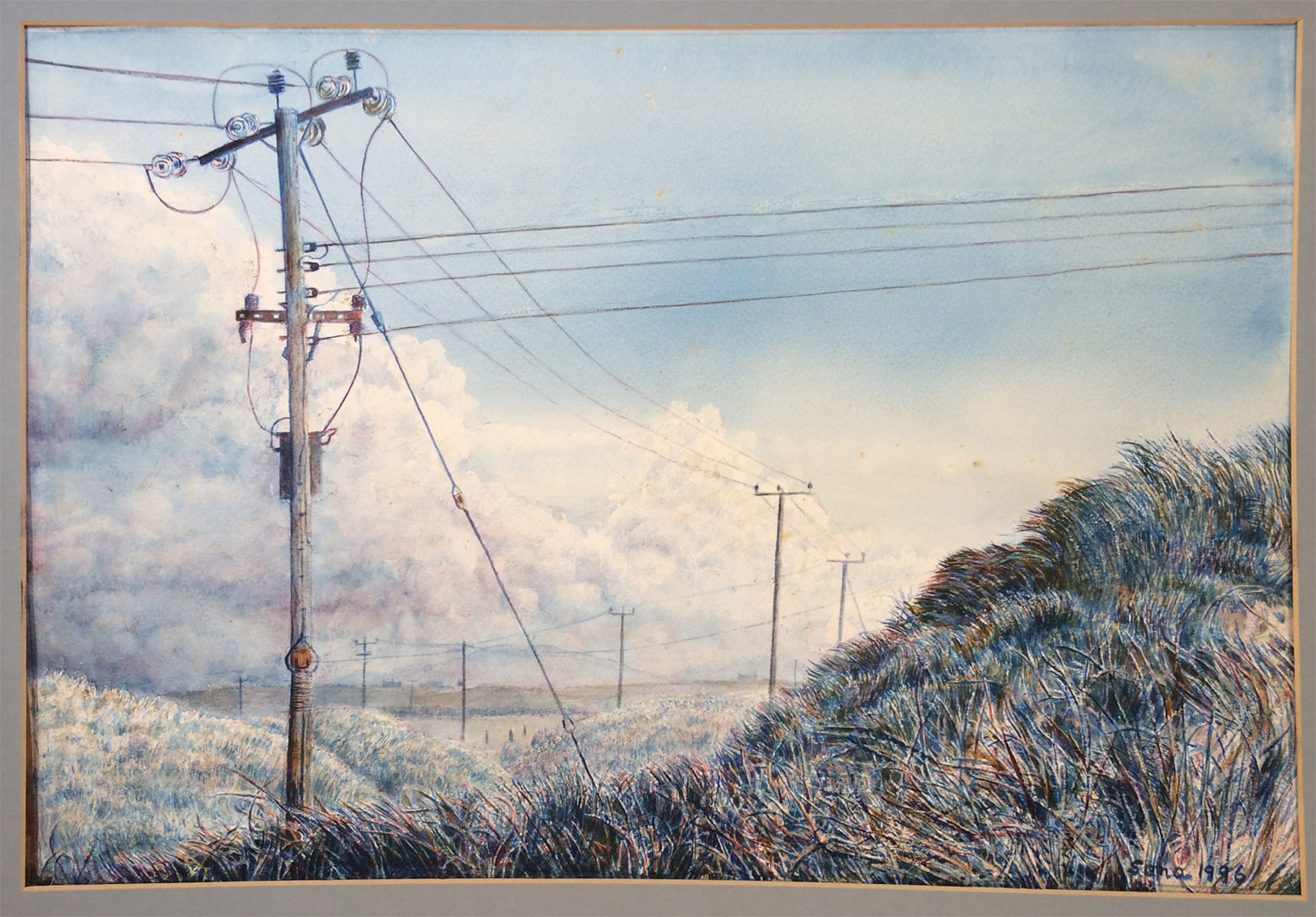 Painting by Sana showing power poles in country scene
