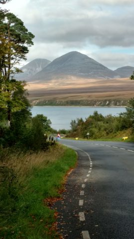 The view across to the Paps of Jura from road down to Port Askaig