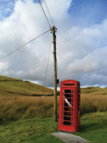 Remote phone box and pole at Abergwesyn