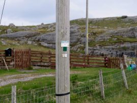 Close-up of the pole information on the only old pole on Berneray