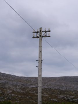 2 armed pole with insulators on A859 through Harris en route to Lewis