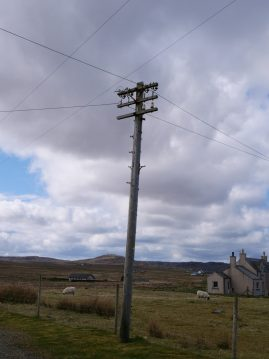 Another 3-armed telegraph pole, roadside at Bragar, Isle of Lewis