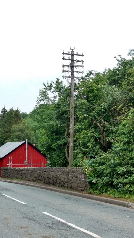 a 1932 5 armed telegraph pole near Ruthin, North Wales.